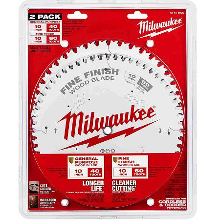 Milwaukee 10″ x 40T + 80T 2 Pack Saw Blades