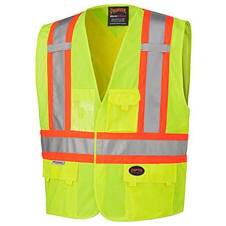 Pioneer Tricot Poly Interlock Safety Yellow/Green Hi-Viz Vest