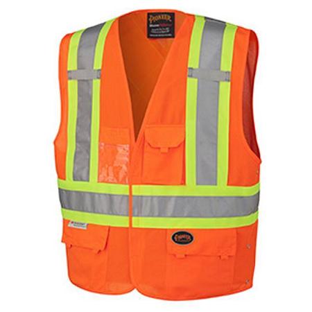 Pioneer Tricot Poly Interlock Safety Orange Hi-Viz Vest