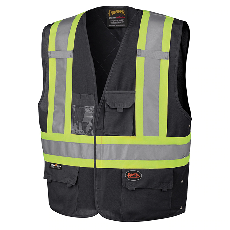 Pioneer Tricot Poly Interlock Safety Black Hi-Viz Vest