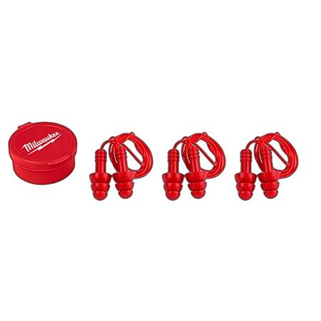 Milwaukee Reusable Corded Ear Plugs 3 Pack