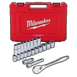 Milwaukee 1/2″ Drive 22 Piece SAE Ratchet and Socket Set