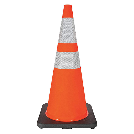 28″ PVC Traffic Cone with Reflective Tape