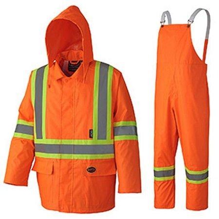Pioneer Hi-Viz Orange Oxford Poly PVC Rain Suit