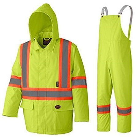 Pioneer Hi-Viz Yellow Oxford Poly PVC Rain Suit