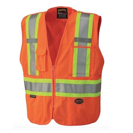 Pioneer Tricot Poly Interlock Mesh Back Hi-Viz Orange Safety Vest