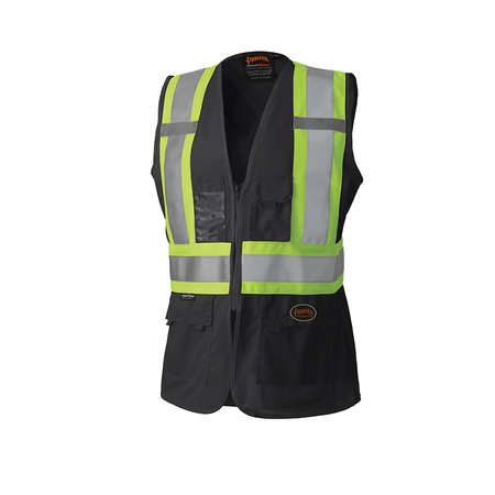 Pioneer Tricot Poly Interlock Mesh Back Hi-Viz Black Safety Vest