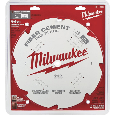 Milwaukee 12″ x 8T Fiber Cement Saw Blade