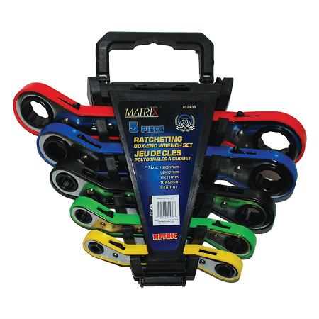 Toolway 5 Piece Metric Box End Ratchet Wrench Set