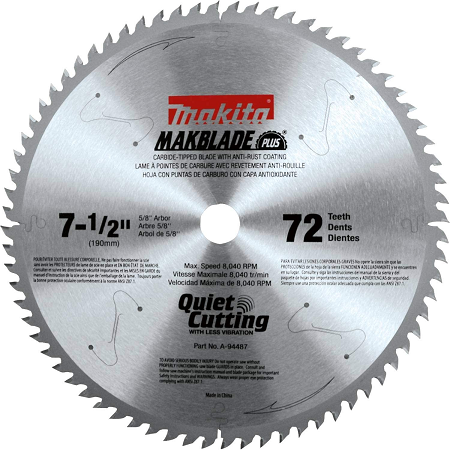 Makita 7-1/2″ x 72T Miter Saw Blade