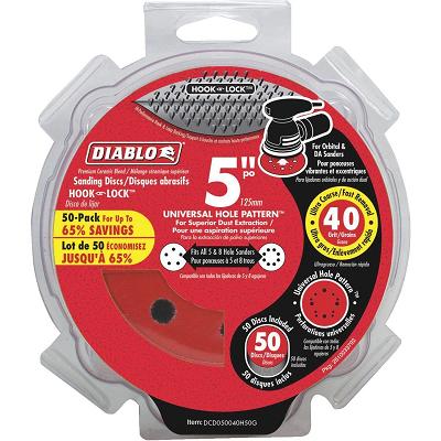 DIABLO 5″ x 40 Grit Hook & Loop 50PK