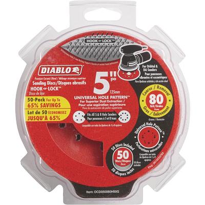 DIABLO 5″ x 80 Grit Hook & Loop 50PK
