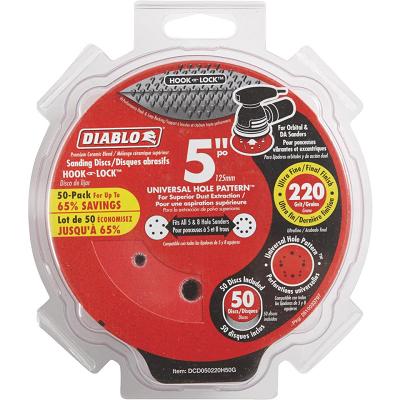 DIABLO 5″ x 220 Grit Hook & Loop 50PK