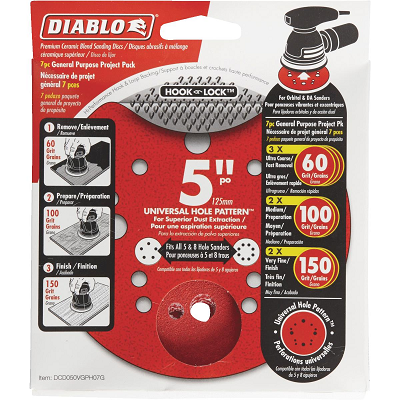 DIABLO 5″ Sanding Disc Multi Pack 0G, 100G, 150G