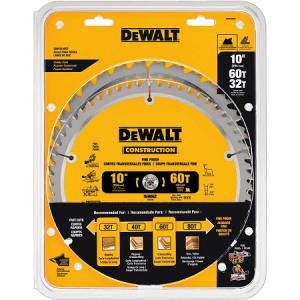 DeWalt 10″ 32T + 60T 2 Pack Miter Saw Blades